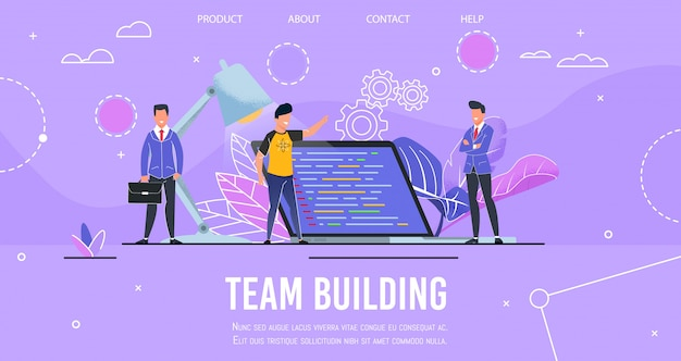 Página de aterrizaje que presenta el proceso de creación de equipos