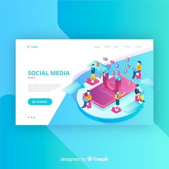 Página de aterrizaje de redes sociales en estilo isométrico