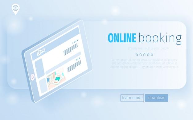 Página de aterrizaje tableta digital con ofertas de habitaciones de hotel