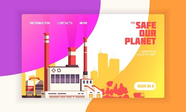 Página de aterrizaje urbana para sitios web de defensa ambiental con planta de energía y subtítulo seguro de nuestro planeta
