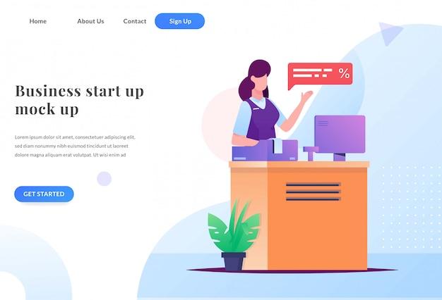 Página de aterrizaje web de cajero de negocios
