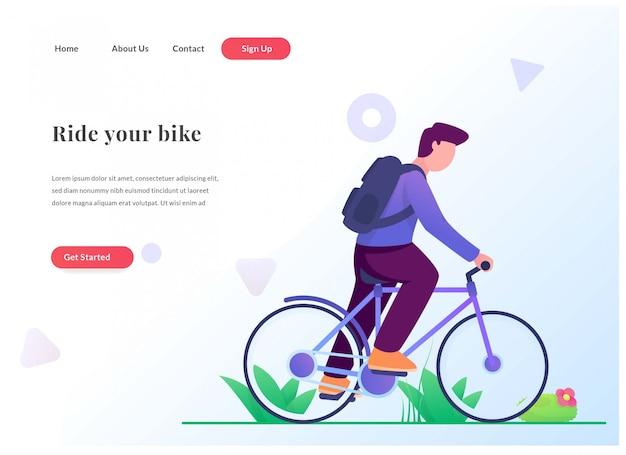 Página de aterrizaje web paseo en bicicleta