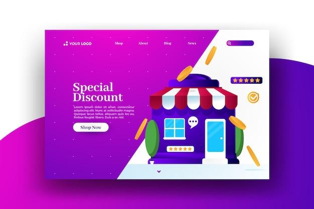 Página de aterrizaje web de venta especial con descuento en línea