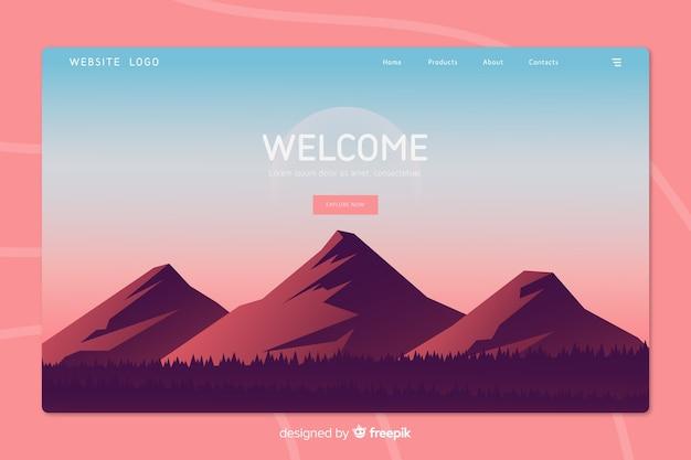 Página de bienvenida con paisaje degradado