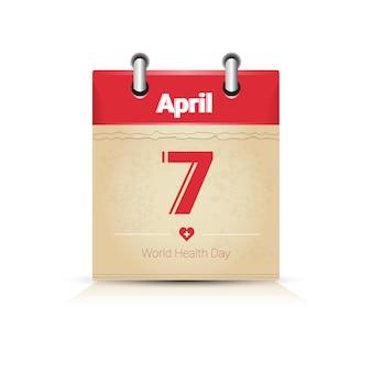 Página del calendario día mundial de la salud día festivo mundial