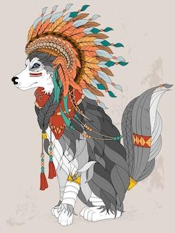 Página para colorear adulto adorable lobo estilo indio