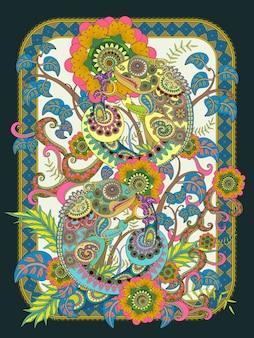 Página para colorear de adultos camaleón