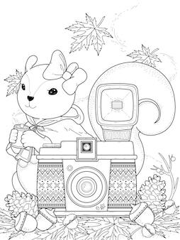 Página para colorear de ardilla adorable con elementos de cámara