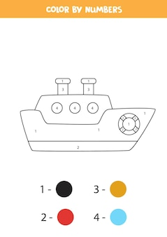 Página para colorear con barco de dibujos animados. colorea por números. juego de matemáticas para niños.