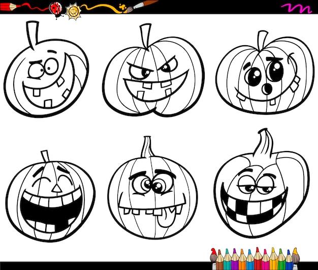 Página para colorear de calabazas de halloween