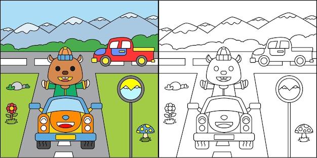 Página para colorear castor de dibujos animados conduciendo un coche