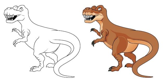 Página para colorear de dibujos animados de dinosaurios para niños