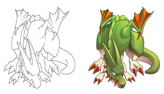 Página para colorear de dibujos animados de dragón malvado para niños