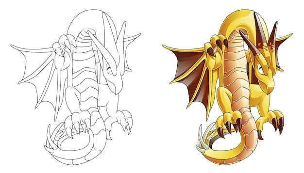 Página para colorear de dibujos animados de dragón monstruo para niños