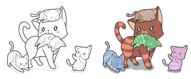 Página para colorear de dibujos animados de gatos y bebés