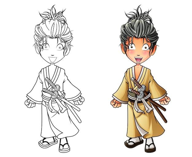 Página para colorear de dibujos animados lindo samurai para niños