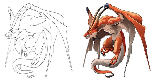 Página para colorear de dibujos animados de monstruo dragón para niños