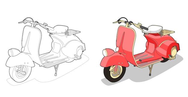 Página para colorear de dibujos animados de motos