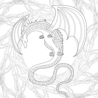 Página para colorear de dragón misterioso en un estilo exquisito