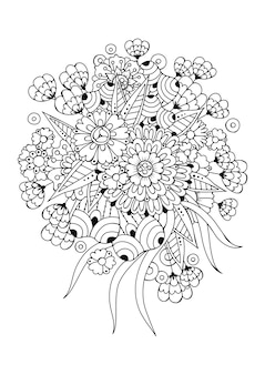 Página para colorear con flores y capullos. ilustración vectorial