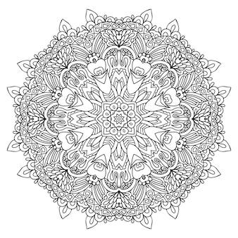 Página para colorear de flores mandala. encaje floral de vector. diseño de tatuajes étnicos.