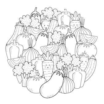 Página para colorear de forma de círculo con verduras de doodle