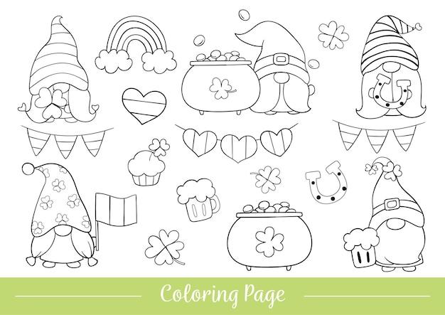 Página para colorear de gnomo para el día de san patricio.