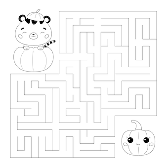 Página para colorear de halloween y juego de laberinto con tigre en la calabaza