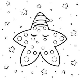 Página para colorear con una linda estrella durmiente. plantilla de libro para colorear de buenas noches. fondo blanco y negro. ilustración