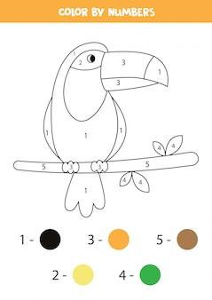 Página para colorear con lindo tucán. juego de matemáticas para niños.