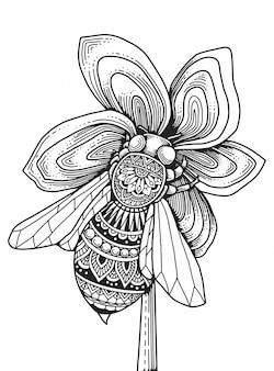 Página para colorear de mandala de abeja. camiseta estampada.