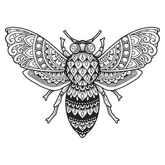 Página para colorear de mandala de abeja.