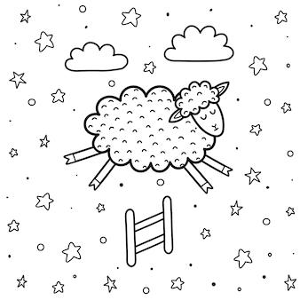 Página para colorear para niños con una linda oveja saltando por encima de la valla. contando ovejas fondo blanco y negro. buenas noches ilustración