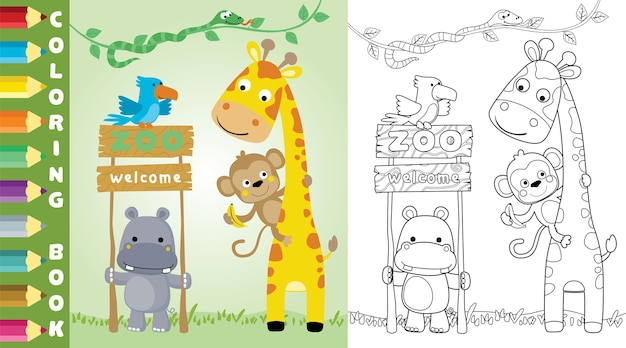 Página para colorear o libro con divertidos dibujos animados de animales