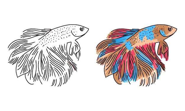 Página para colorear de peces betta dibujados a mano para niños