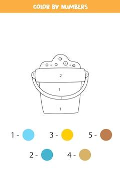 Página para colorear con pila de dibujos animados. colorea por números. juego de matemáticas para niños.