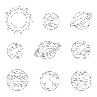 Página para colorear con planetas del sistema solar. imagen en blanco y negro.