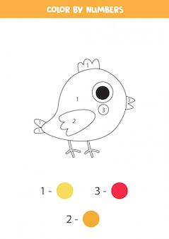 Página para colorear con pollo de dibujos animados lindo. juego de matemáticas para niños