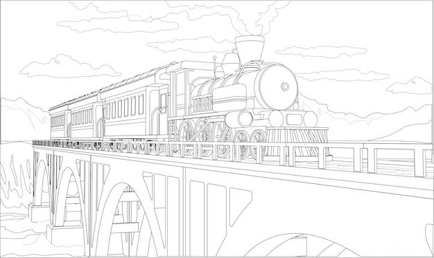 Página para colorear con tren modelo 3d en el puente. hermosa ilustración con viajes en tren. gráfico de tren retro vintage.
