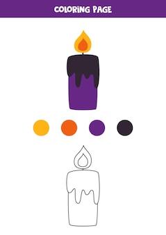 Página para colorear con vela de dibujos animados. hoja de trabajo para niños.