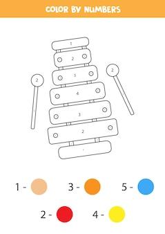 Página para colorear con xilófono de juguete. colorea por números. hoja de trabajo educativa para niños.