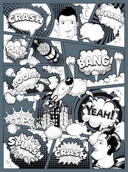 Página de cómic en blanco y negro dividida por líneas sobre fondo oscuro con burbujas de discurso, cohete, superhéroe y efecto de sonido. ilustración vectorial