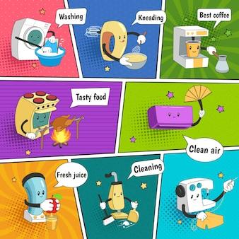 Página de cómic colorida y brillante de electrodomésticos con iconos divertidos que muestran equipos eléctricos domésticos