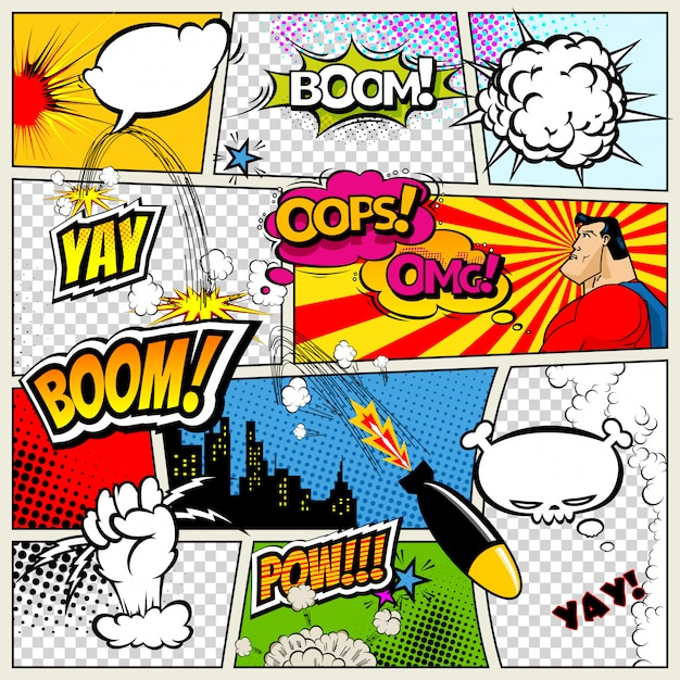 Página de cómic dividida por líneas con bocadillos.