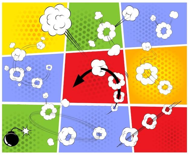 Página de cómic con explosiones, nubes y flechas.