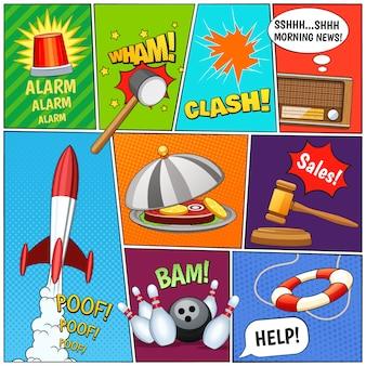 Página de cómic paneles de composición con alarma cohete viejo tv noticias texto globos