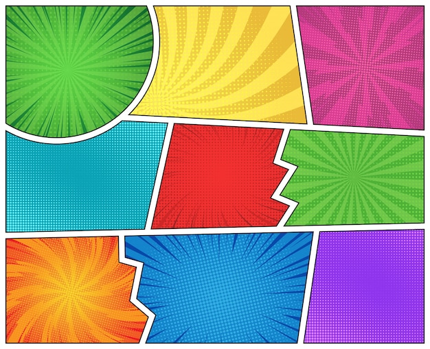Página de cómic con rayos radiales de medios tonos
