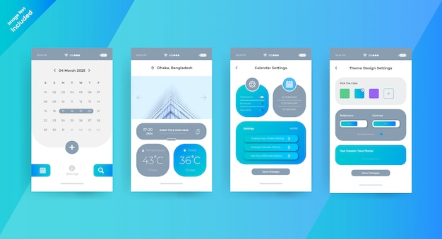 Página de concepto de interfaz de usuario de la aplicación de calendario simple