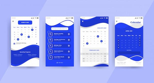 Página de concepto de ui ux de la aplicación de calendario azul
