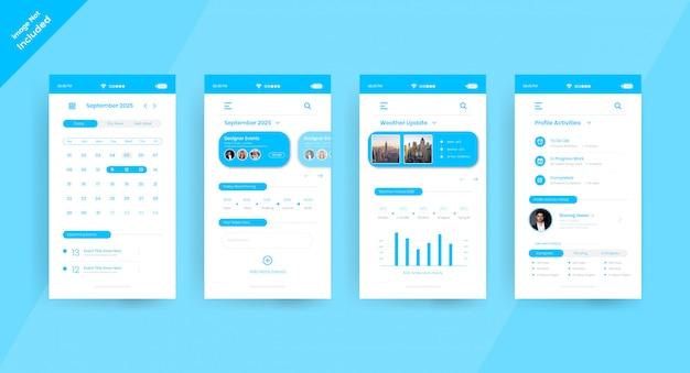 Página de concepto de ui ux de la aplicación de calendario